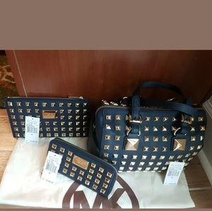 Michael Kors Navy Grayson Studded Handbag Set
